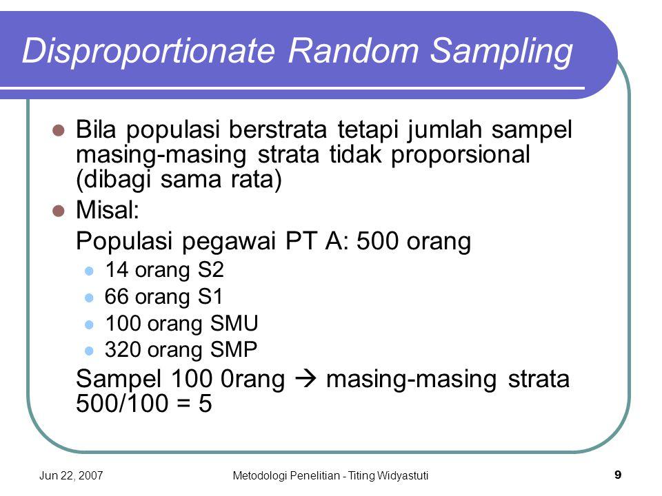 Jun 22, 2007Metodologi Penelitian - Titing Widyastuti9 Disproportionate Random Sampling Bila populasi berstrata tetapi jumlah sampel masing-masing str