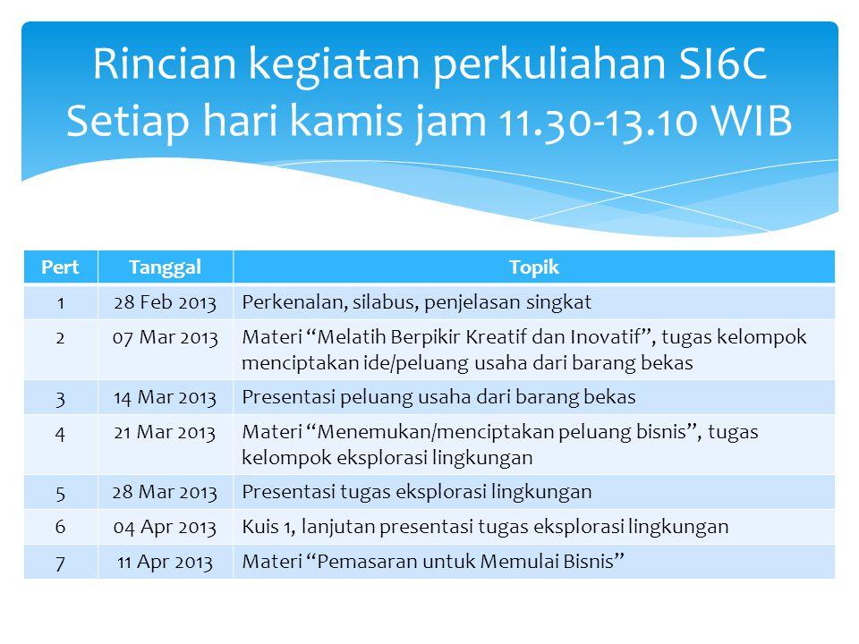 Rincian kegiatan perkuliahan SI6C Setiap hari kamis jam 11.30-13.10 WIB PertTanggalTopik 128 Feb 2013Perkenalan, silabus, penjelasan singkat 207 Mar 2