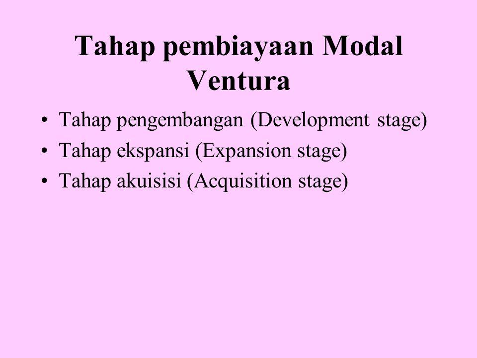 Tahap pembiayaan Modal Ventura Tahap pengembangan (Development stage) Tahap ekspansi (Expansion stage) Tahap akuisisi (Acquisition stage)