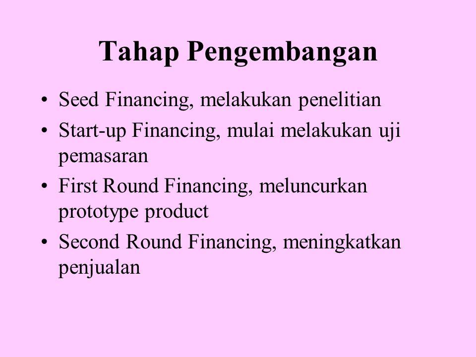 Tahap Pengembangan Seed Financing, melakukan penelitian Start-up Financing, mulai melakukan uji pemasaran First Round Financing, meluncurkan prototype