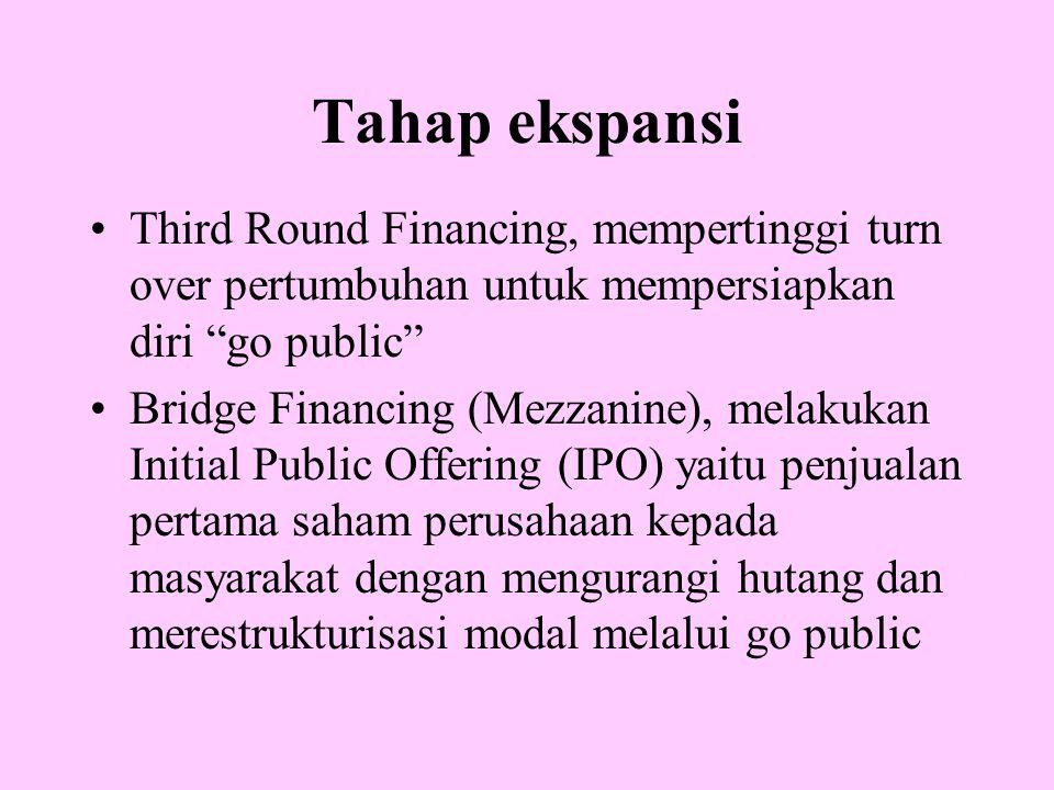 """Tahap ekspansi Third Round Financing, mempertinggi turn over pertumbuhan untuk mempersiapkan diri """"go public"""" Bridge Financing (Mezzanine), melakukan"""