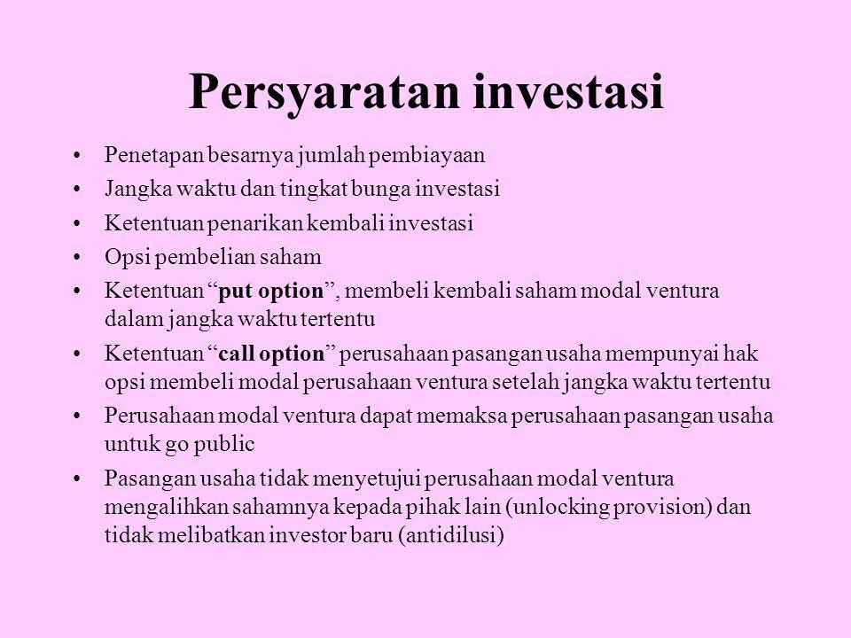 Persyaratan investasi Penetapan besarnya jumlah pembiayaan Jangka waktu dan tingkat bunga investasi Ketentuan penarikan kembali investasi Opsi pembeli