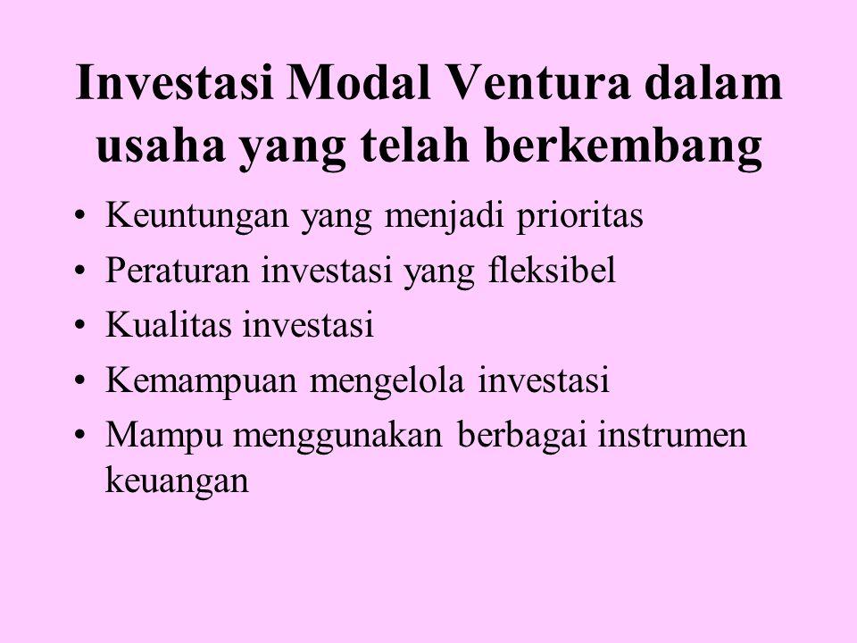 Investasi Modal Ventura dalam usaha yang telah berkembang Keuntungan yang menjadi prioritas Peraturan investasi yang fleksibel Kualitas investasi Kema
