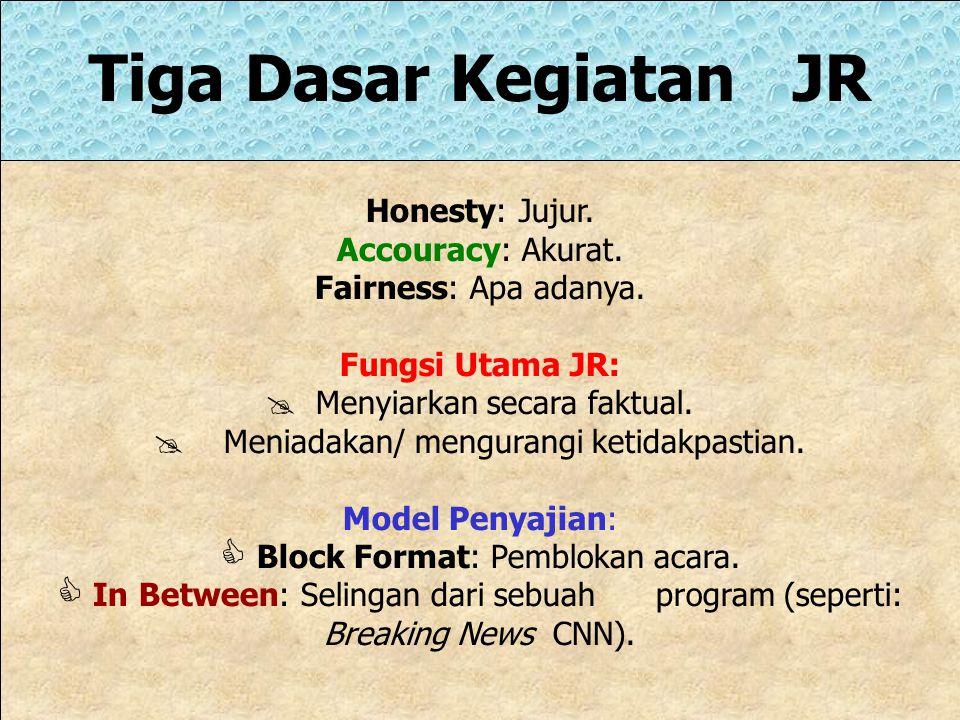 Tiga Dasar Kegiatan JR Honesty: Jujur.Accouracy: Akurat.