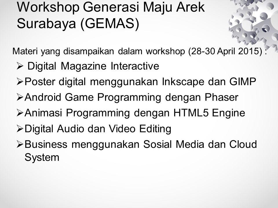 Workshop Generasi Maju Arek Surabaya (GEMAS) Adapun materi yang disampaikan yang terbagi atas sesion-sesion antara lain :  Digital Magazine Interactive terbagi atas : Sesi GIMP Sesi Inkscape dan sesi bootstrap  Poster digital terbagi atas : Sesi GIMP Sesi Inkscape  Android Game Programming terbagi atas : Sesi Pengenalan Phaser Sesi Phaser lanjutan
