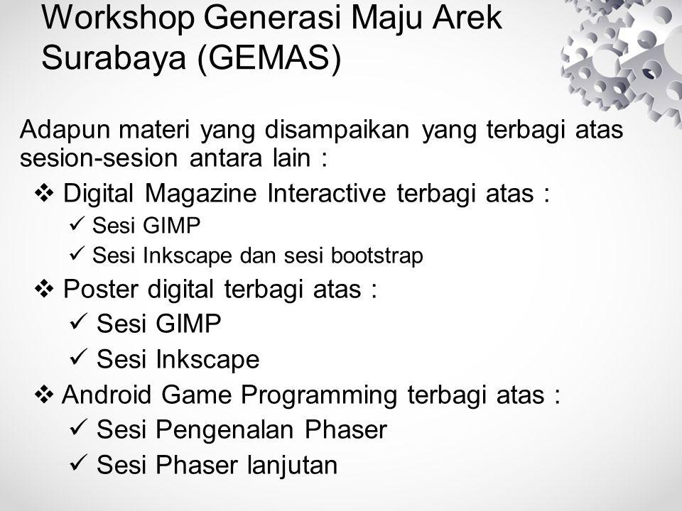 Workshop Generasi Maju Arek Surabaya (GEMAS)  Animasi Programming terbagi atas : Sesi Pengenalan HTML5 Engine Sesi HTML5 Engine Lanjutan  Digital Audio dan Video Editing terbagi atas : Sesi Digital Audio Editing Sesi Digital Video Editing  Business from Sosial Media