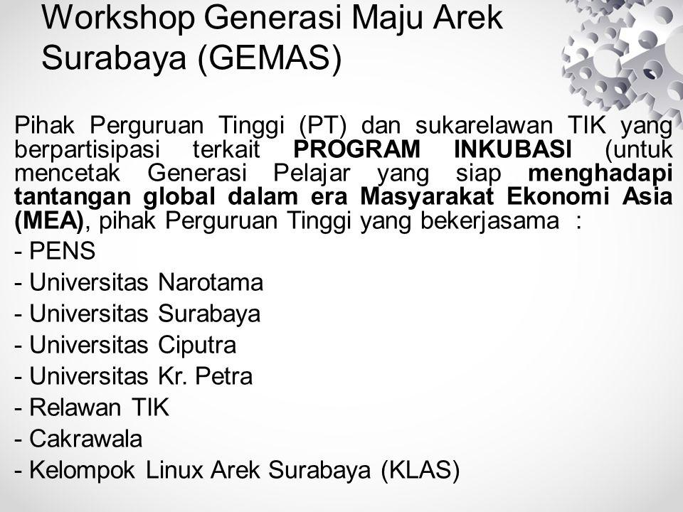 Workshop Generasi Maju Arek Surabaya (GEMAS) Pihak Perguruan Tinggi (PT) dan sukarelawan TIK yang berpartisipasi terkait PROGRAM INKUBASI (untuk mencetak Generasi Pelajar yang siap menghadapi tantangan global dalam era Masyarakat Ekonomi Asia (MEA), pihak Perguruan Tinggi yang bekerjasama : - PENS - Universitas Narotama - Universitas Surabaya - Universitas Ciputra - Universitas Kr.