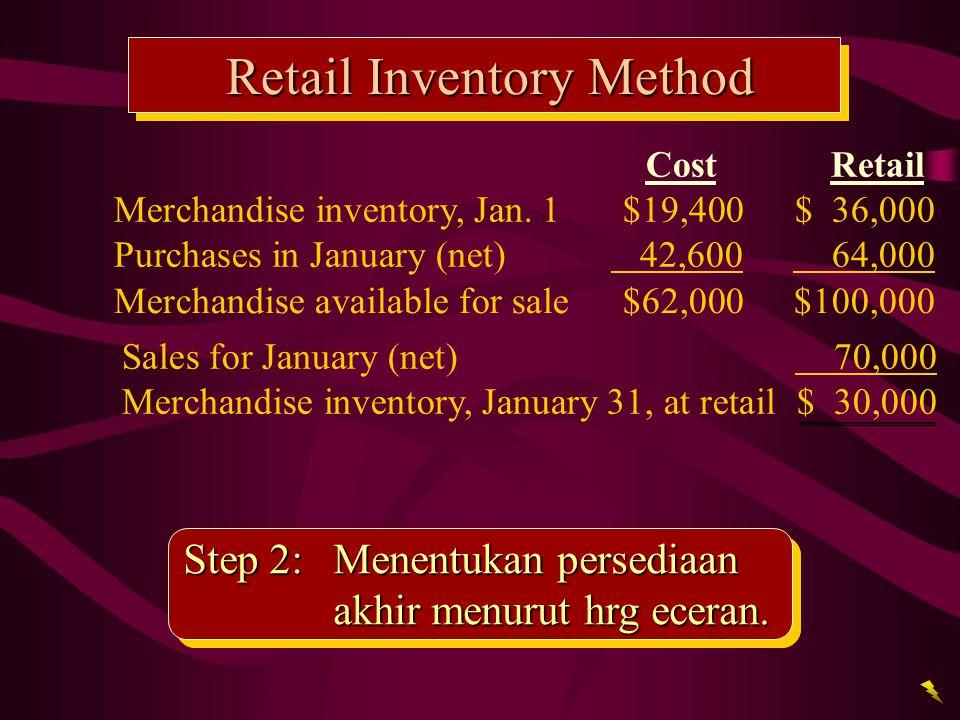 Retail Inventory Method Step 2: Menentukan persediaan akhir menurut hrg eceran. Sales for January (net) 70,000 Merchandise inventory, January 31, at r