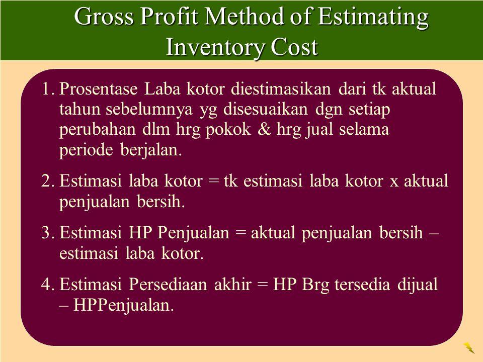 Gross Profit Method of Estimating Inventory Cost Gross Profit Method of Estimating Inventory Cost 1.Prosentase Laba kotor diestimasikan dari tk aktual