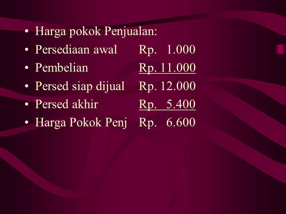 Harga pokok Penjualan: Persediaan awalRp. 1.000 PembelianRp. 11.000 Persed siap dijualRp. 12.000 Persed akhir Rp. 5.400 Harga Pokok PenjRp. 6.600