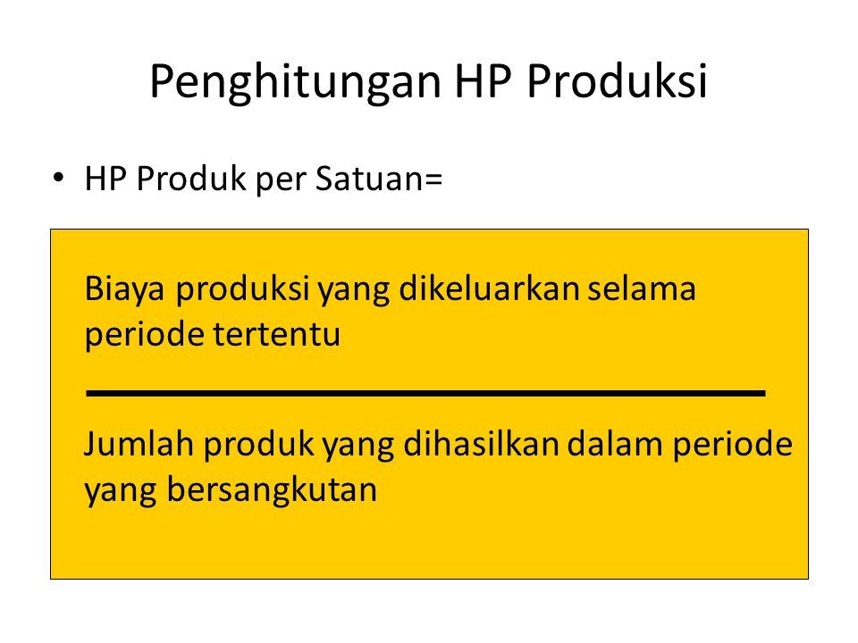 Penghitungan HP Produksi HP Produk per Satuan= Biaya produksi yang dikeluarkan selama periode tertentu Jumlah produk yang dihasilkan dalam periode yan