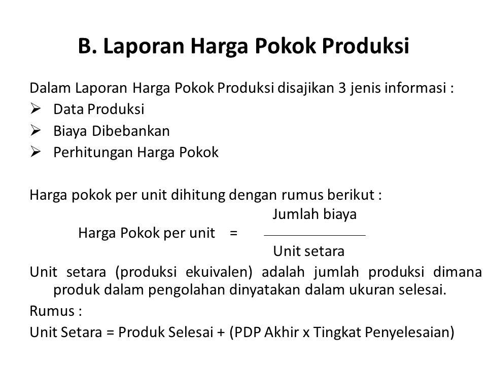 B. Laporan Harga Pokok Produksi Dalam Laporan Harga Pokok Produksi disajikan 3 jenis informasi :  Data Produksi  Biaya Dibebankan  Perhitungan Harg