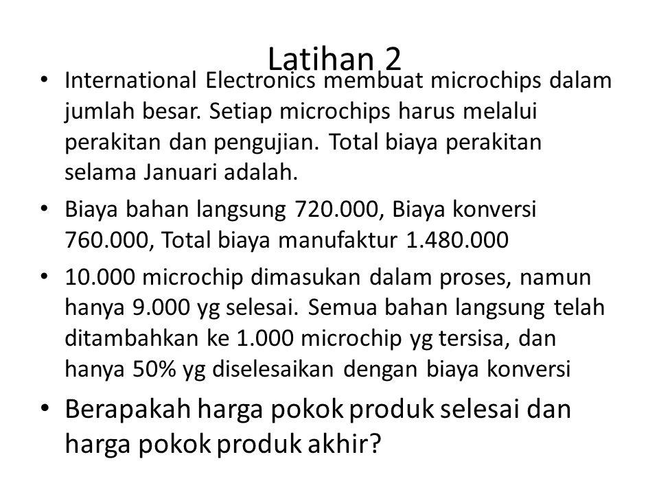 Latihan 2 International Electronics membuat microchips dalam jumlah besar. Setiap microchips harus melalui perakitan dan pengujian. Total biaya peraki