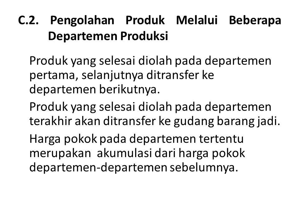 C.2. Pengolahan Produk Melalui Beberapa Departemen Produksi Produk yang selesai diolah pada departemen pertama, selanjutnya ditransfer ke departemen b