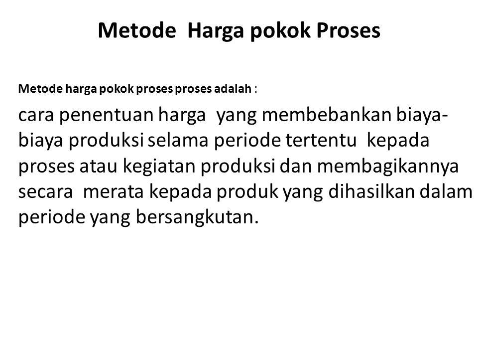 Metode Harga pokok Proses Metode harga pokok proses proses adalah : cara penentuan harga yang membebankan biaya- biaya produksi selama periode tertent