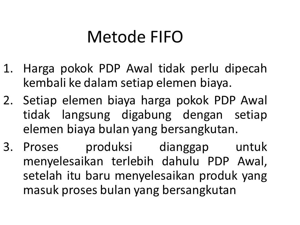 Metode FIFO 1.Harga pokok PDP Awal tidak perlu dipecah kembali ke dalam setiap elemen biaya. 2.Setiap elemen biaya harga pokok PDP Awal tidak langsung