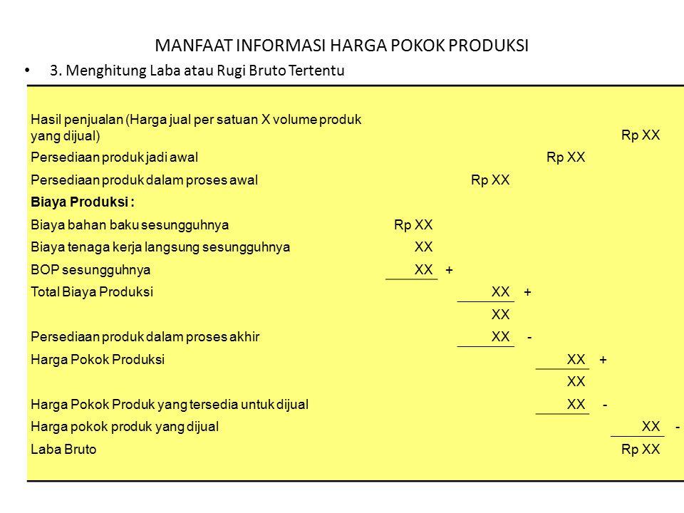 MANFAAT INFORMASI HARGA POKOK PRODUKSI 3. Menghitung Laba atau Rugi Bruto Tertentu Hasil penjualan (Harga jual per satuan X volume produk yang dijual)