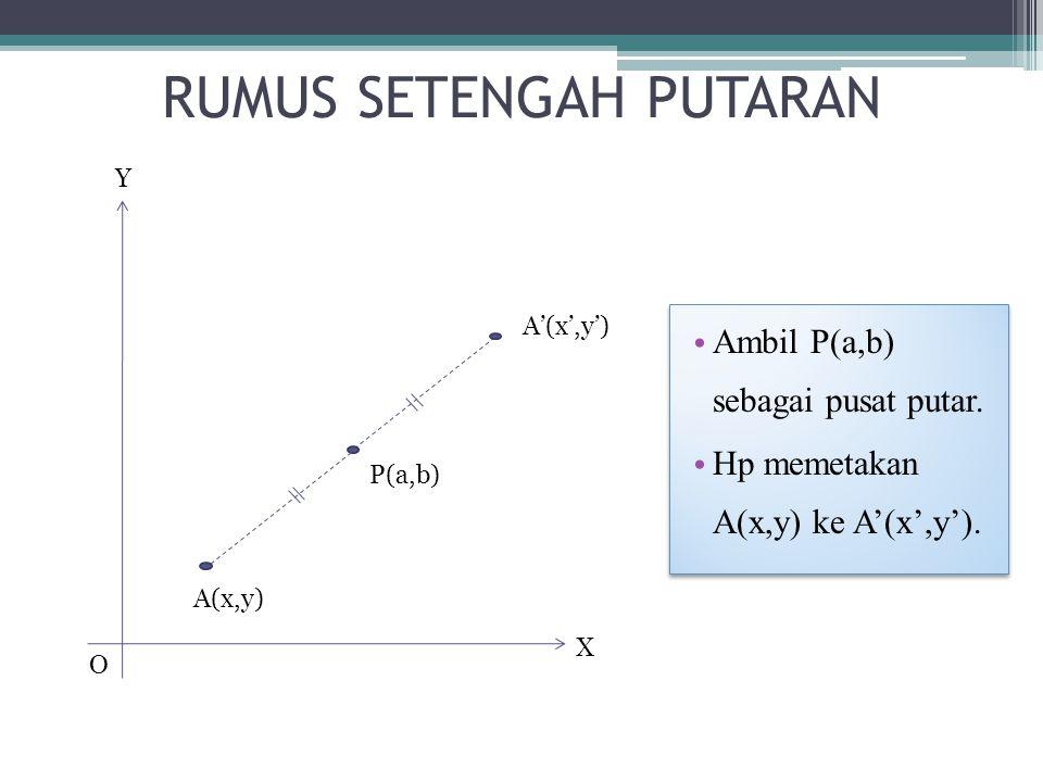RUMUS SETENGAH PUTARAN X O Y A(x,y) A'(x',y') P(a,b) Ambil P(a,b) sebagai pusat putar.