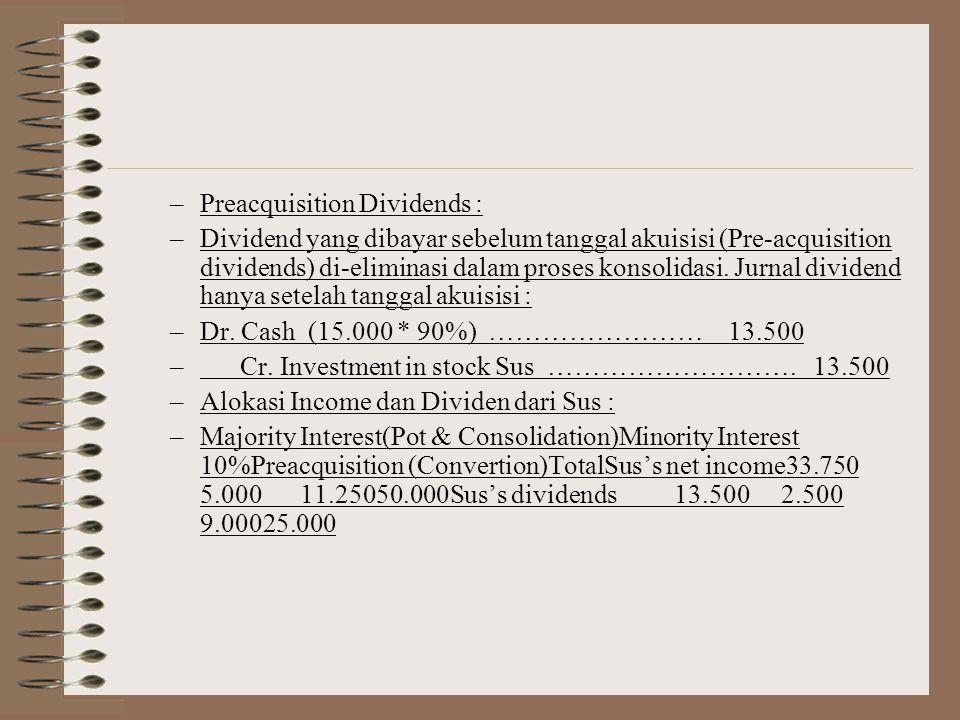 –Kendala Minority Interest Income setahun 5.000 (50.000*10%), dan penyajian hanya 9 bulan 3.750 (37.500*10%) yang kurang diterima untuk dasar proyeksi, diatasi dengan pembuatan laporan setahun penuh dan mengungkapkan perkiraan Pre-acquisition Income sebagai berikut : –- Sales ……………………………………… 100.000 –- Expenses …………………………………..