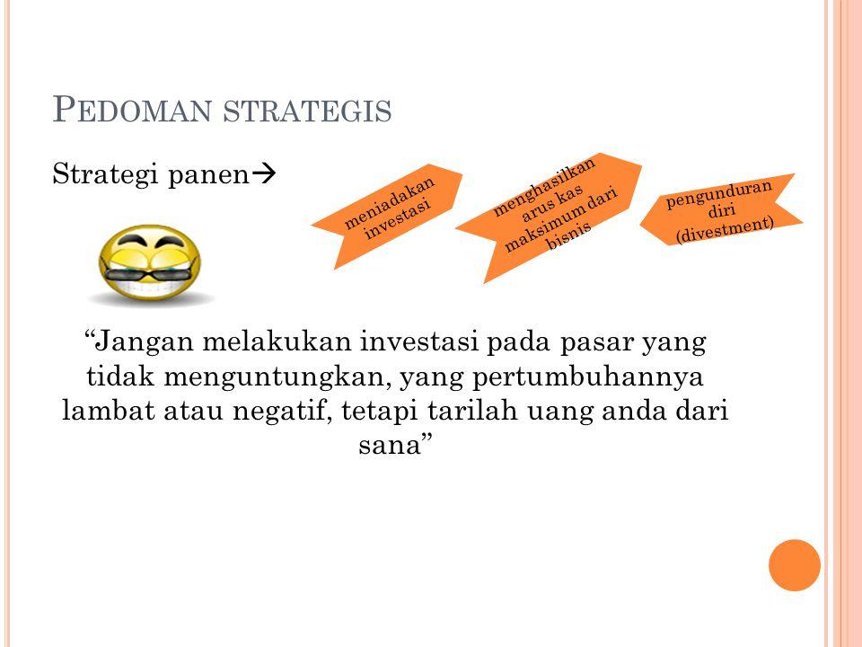 P EDOMAN STRATEGIS Strategi panen  Jangan melakukan investasi pada pasar yang tidak menguntungkan, yang pertumbuhannya lambat atau negatif, tetapi tarilah uang anda dari sana meniadakan investasi menghasilkan arus kas maksimum dari bisnis pengunduran diri (divestment)