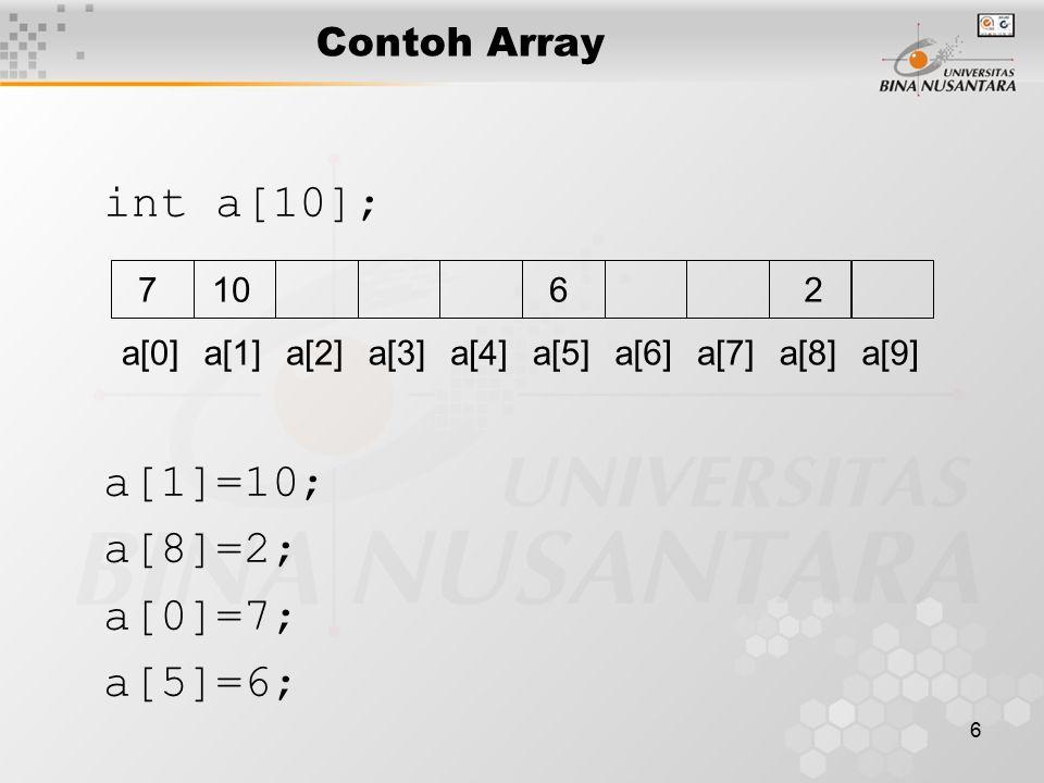 6 Contoh Array int a[10]; a[0]a[1]a[2]a[3]a[4]a[5]a[6]a[7]a[8]a[9] a[1]=10; a[8]=2; a[0]=7; a[5]=6; 10726