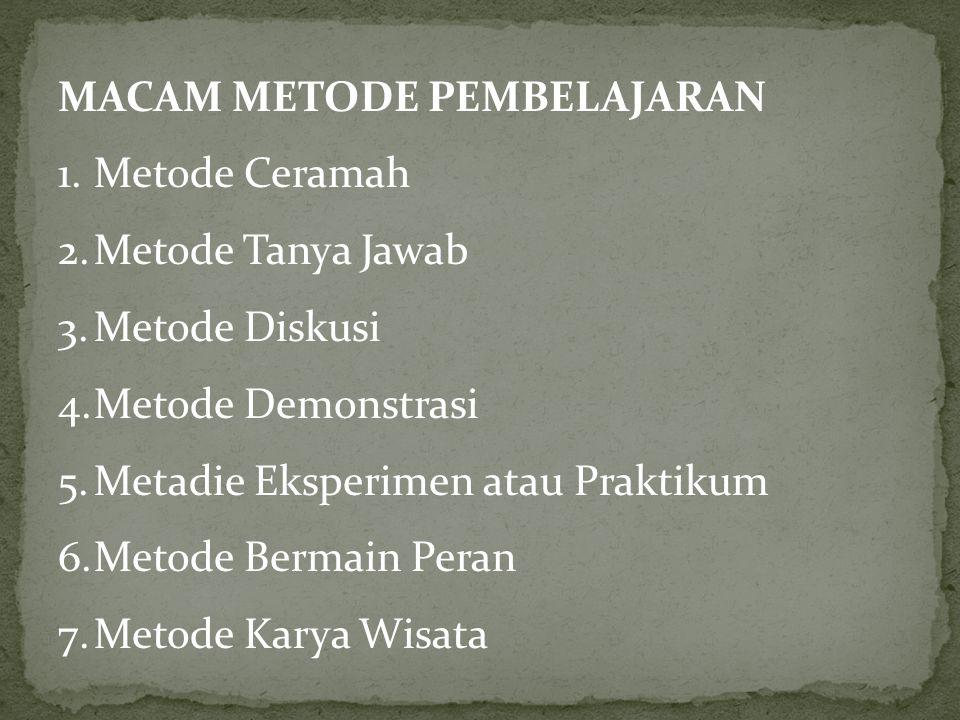 MACAM METODE PEMBELAJARAN 1.Metode Ceramah 2.Metode Tanya Jawab 3.Metode Diskusi 4.Metode Demonstrasi 5.Metadie Eksperimen atau Praktikum 6.Metode Bermain Peran 7.Metode Karya Wisata