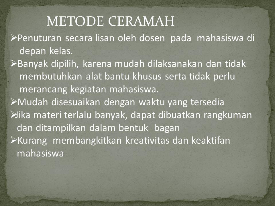 METODE CERAMAH  Penuturan secara lisan oleh dosen pada mahasiswa di depan kelas.