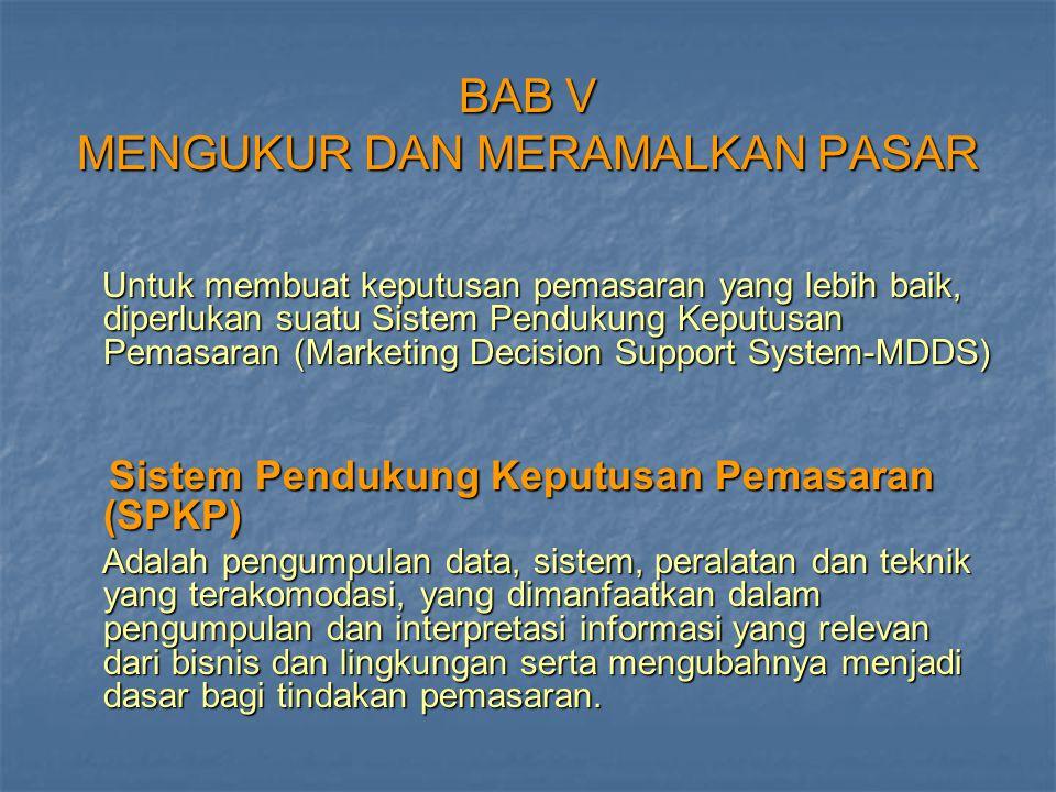 BAB V MENGUKUR DAN MERAMALKAN PASAR Untuk membuat keputusan pemasaran yang lebih baik, diperlukan suatu Sistem Pendukung Keputusan Pemasaran (Marketin