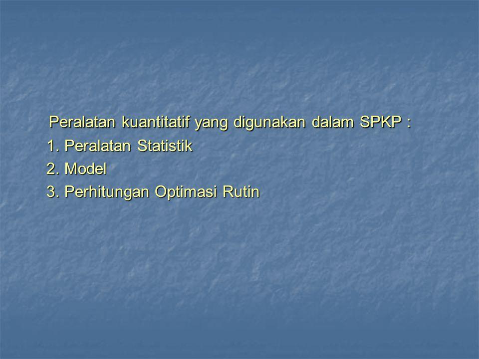 Peralatan kuantitatif yang digunakan dalam SPKP : Peralatan kuantitatif yang digunakan dalam SPKP : 1. Peralatan Statistik 1. Peralatan Statistik 2. M