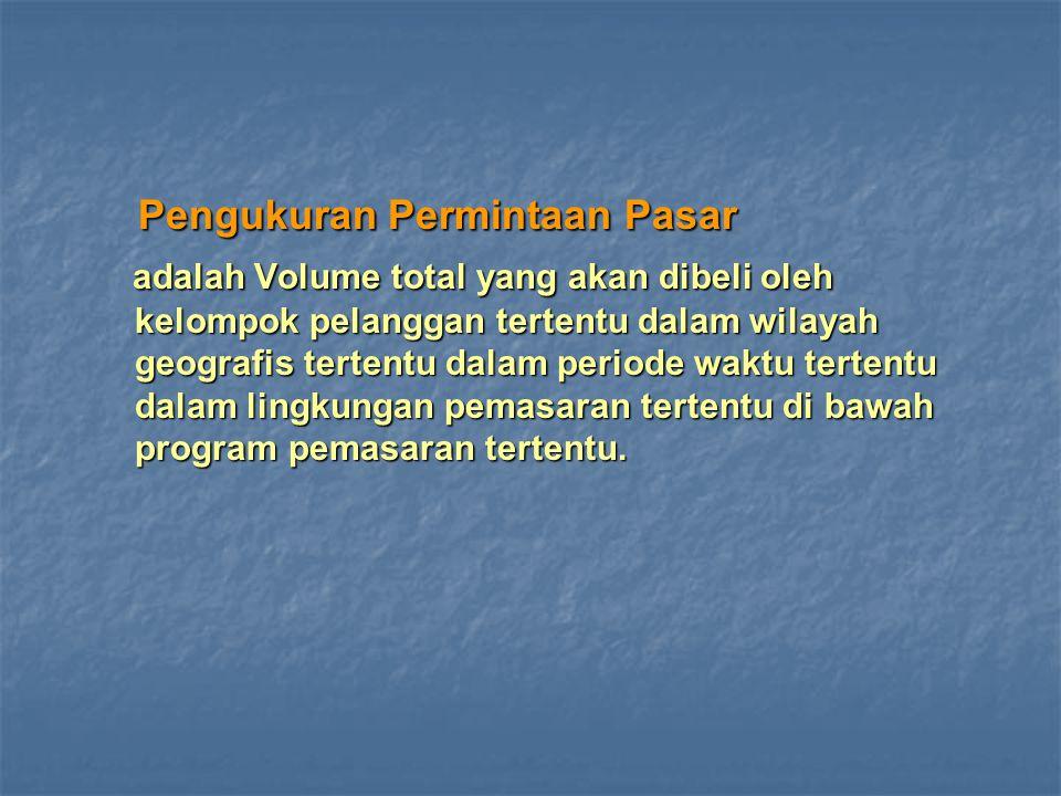 Pengukuran Permintaan Pasar Pengukuran Permintaan Pasar adalah Volume total yang akan dibeli oleh kelompok pelanggan tertentu dalam wilayah geografis