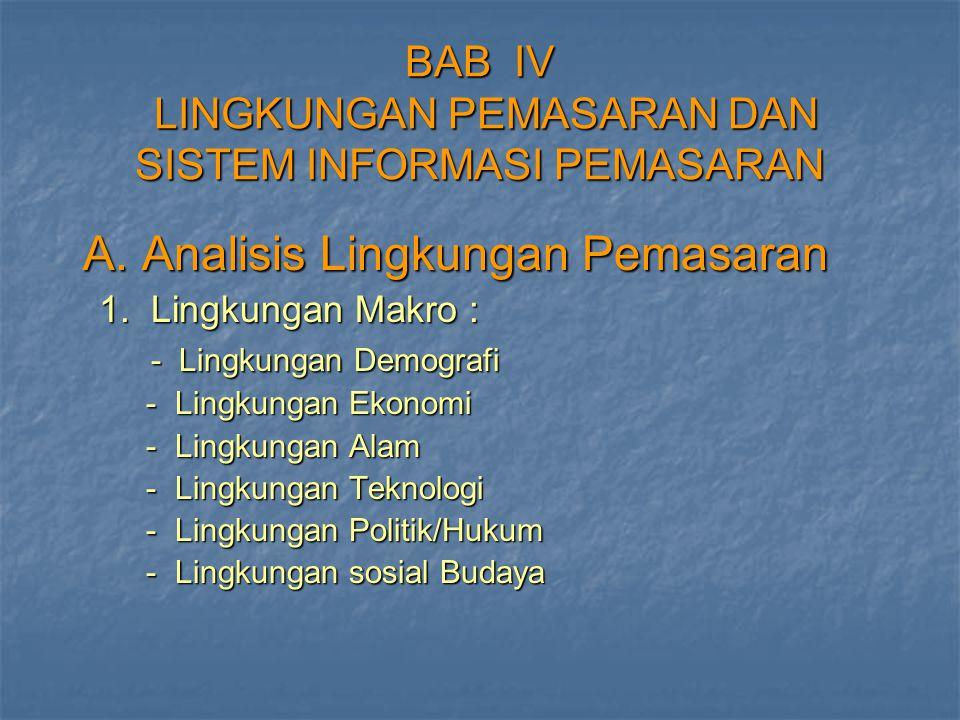 BAB IV LINGKUNGAN PEMASARAN DAN SISTEM INFORMASI PEMASARAN A. Analisis Lingkungan Pemasaran A. Analisis Lingkungan Pemasaran 1. Lingkungan Makro : 1.