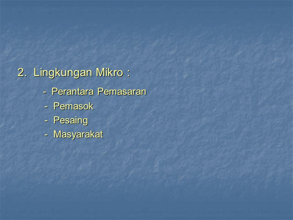 2. Lingkungan Mikro : - Perantara Pemasaran - Perantara Pemasaran - Pemasok - Pemasok - Pesaing - Pesaing - Masyarakat - Masyarakat