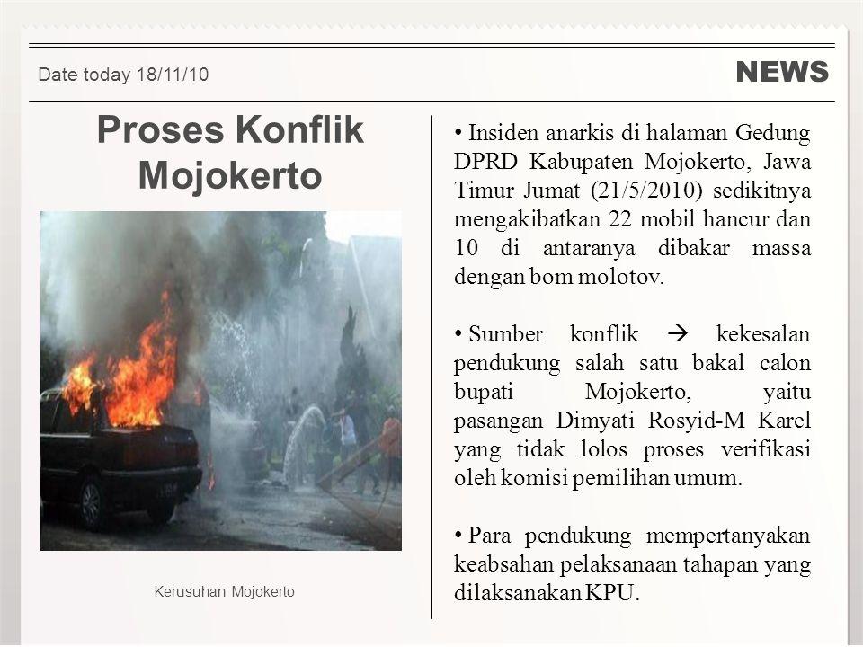 NEWS Proses Konflik Mojokerto Insiden anarkis di halaman Gedung DPRD Kabupaten Mojokerto, Jawa Timur Jumat (21/5/2010) sedikitnya mengakibatkan 22 mob