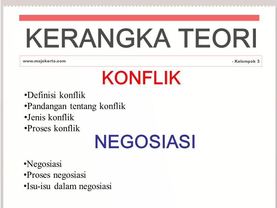 KONFLIK Definisi konflik Pandangan tentang konflik Jenis konflik Proses konflik KERANGKA TEORI www.mojokerto.com - Kelompok 3 Negosiasi Proses negosia