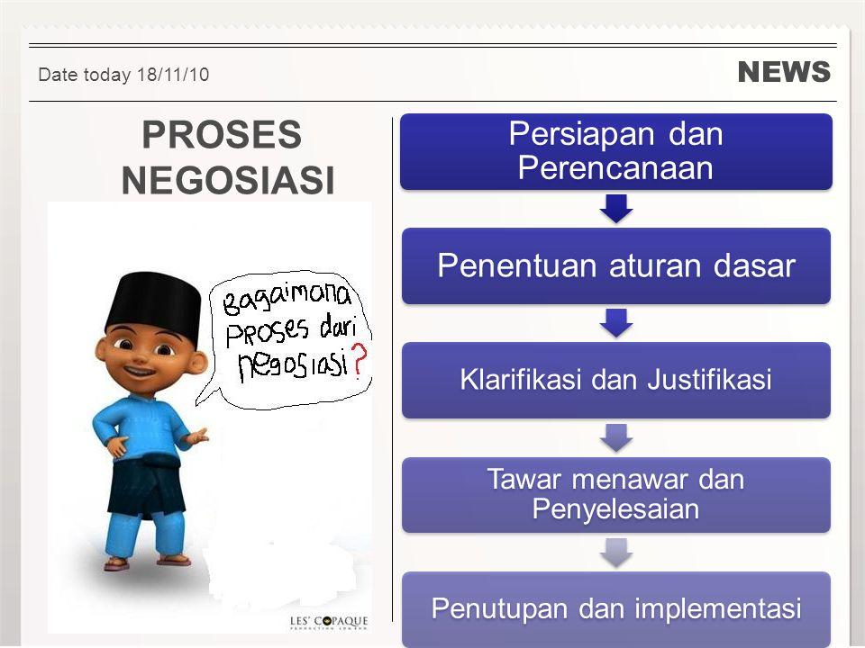 NEWS PROSES NEGOSIASI Date today 18/11/10 Persiapan dan Perencanaan Penentuan aturan dasar Klarifikasi dan Justifikasi Tawar menawar dan Penyelesaian