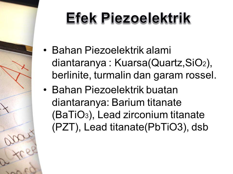 Bahan Piezoelektrik alami diantaranya : Kuarsa(Quartz,SiO 2 ), berlinite, turmalin dan garam rossel. Bahan Piezoelektrik buatan diantaranya: Barium ti