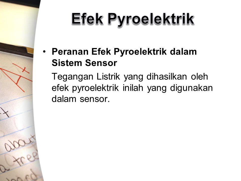 Peranan Efek Pyroelektrik dalam Sistem Sensor Tegangan Listrik yang dihasilkan oleh efek pyroelektrik inilah yang digunakan dalam sensor.