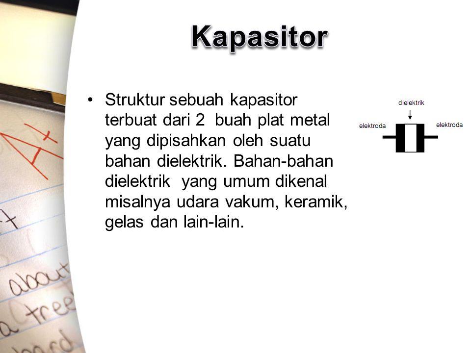 Struktur sebuah kapasitor terbuat dari 2 buah plat metal yang dipisahkan oleh suatu bahan dielektrik. Bahan-bahan dielektrik yang umum dikenal misalny