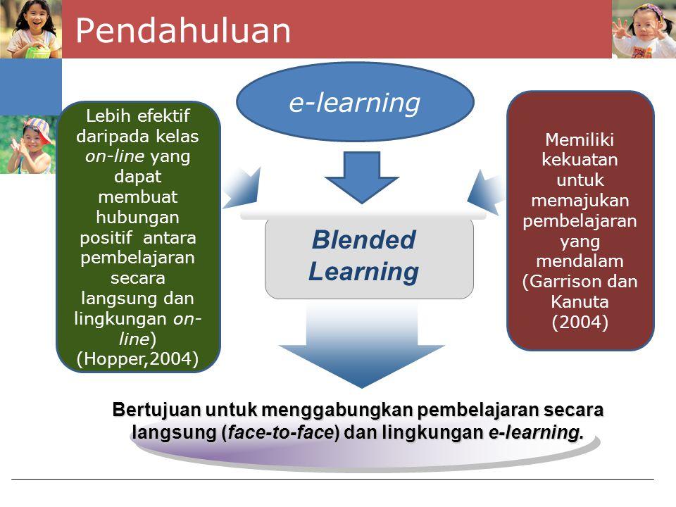 Faktor Pendukung Implementasi Blended Learning Blended learning membutuhkan pengembangan profesional yang berkelanjutan dari pengajar (Vaughan, (2008) Blended learning memerlukan kesiapan organisasi, sumber teknis yang cukup, motivasi dari pengajar, fasilitas komunikasi yang baik, dan saluran umpan balik (Tabor, 2007).