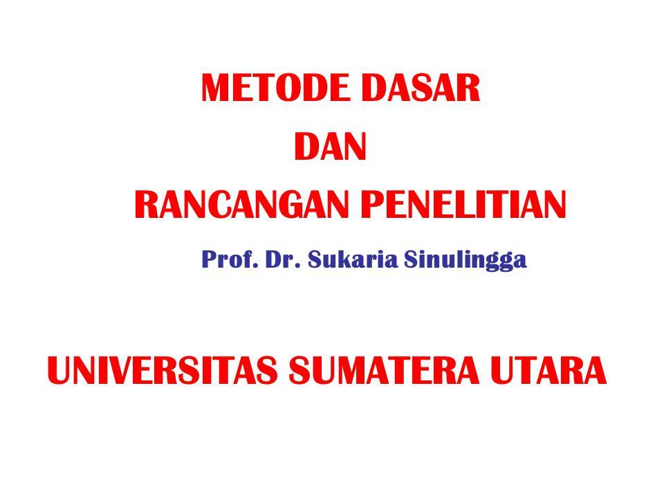 METODE DASAR DAN RANCANGAN PENELITIAN Prof. Dr. Sukaria Sinulingga UNIVERSITAS SUMATERA UTARA