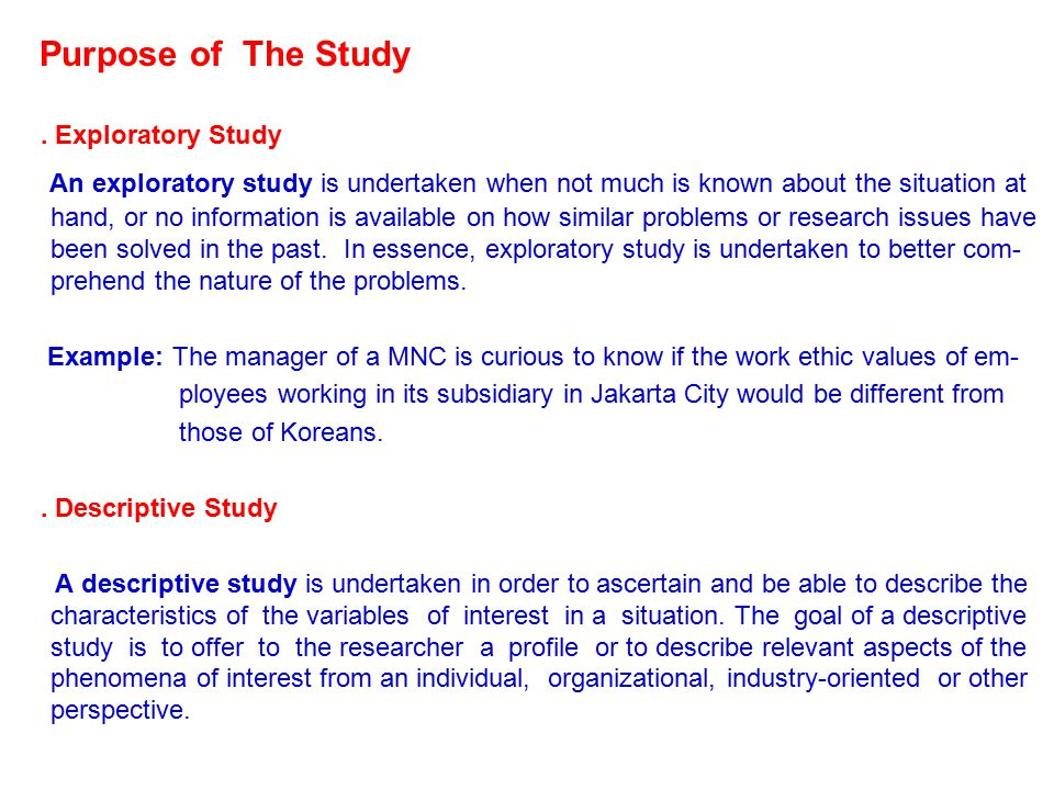 Purpose of The Study.