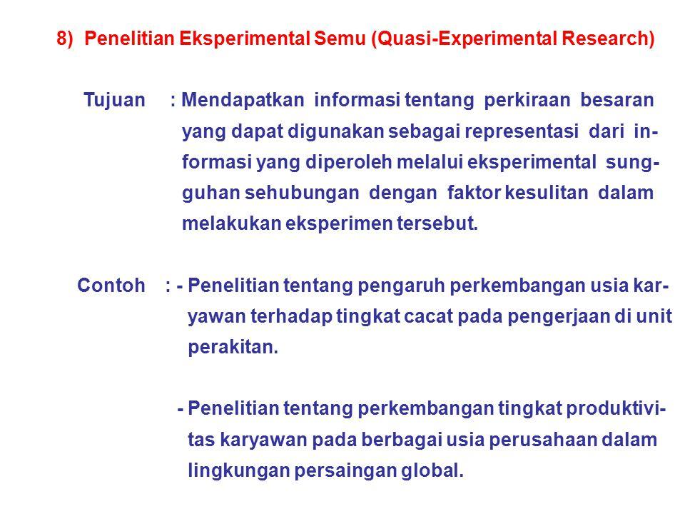 8) Penelitian Eksperimental Semu (Quasi-Experimental Research) Tujuan : Mendapatkan informasi tentang perkiraan besaran yang dapat digunakan sebagai r
