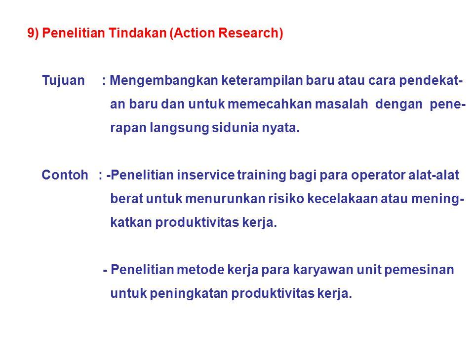 9) Penelitian Tindakan (Action Research) Tujuan : Mengembangkan keterampilan baru atau cara pendekat- an baru dan untuk memecahkan masalah dengan pene