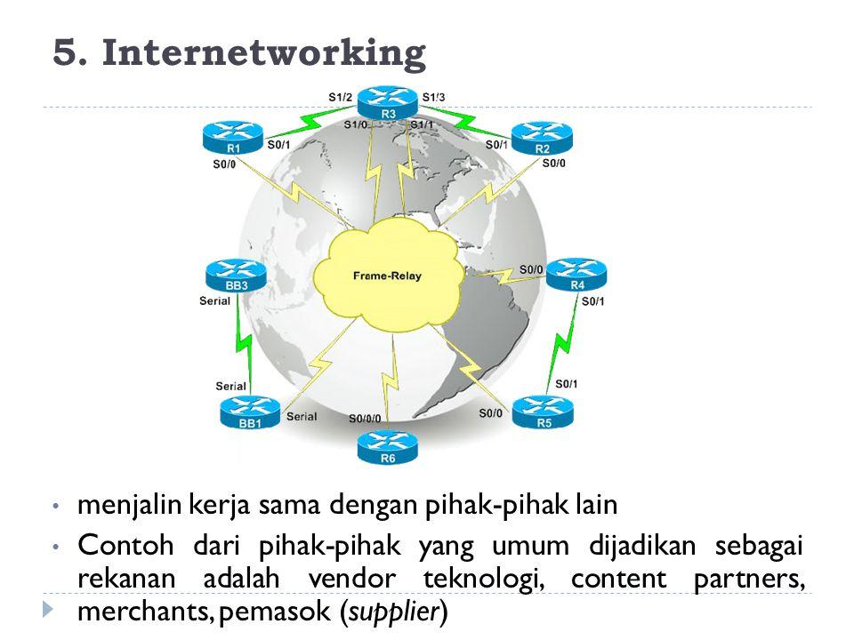 5. Internetworking menjalin kerja sama dengan pihak-pihak lain Contoh dari pihak-pihak yang umum dijadikan sebagai rekanan adalah vendor teknologi, co