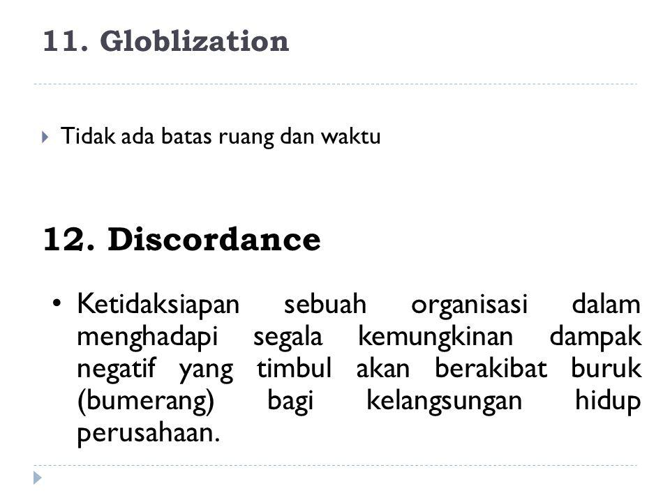 11. Globlization  Tidak ada batas ruang dan waktu 12. Discordance Ketidaksiapan sebuah organisasi dalam menghadapi segala kemungkinan dampak negatif