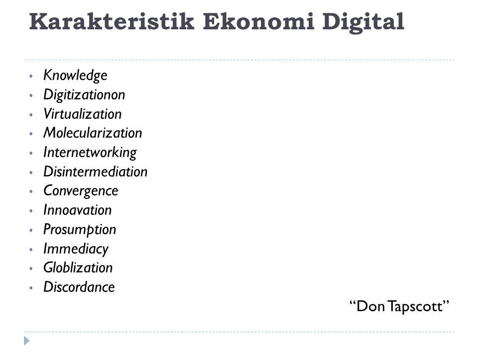 Karakteristik Ekonomi Digital Knowledge Digitizationon Virtualization Molecularization Internetworking Disintermediation Convergence Innoavation Prosu