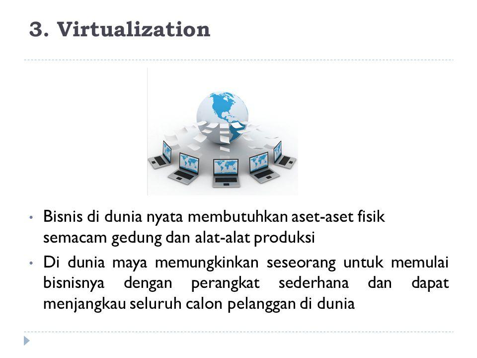 3. Virtualization Bisnis di dunia nyata membutuhkan aset-aset fisik semacam gedung dan alat-alat produksi Di dunia maya memungkinkan seseorang untuk m