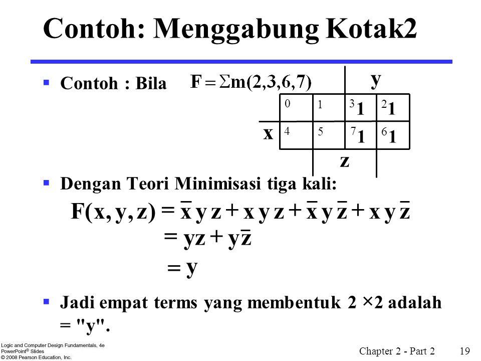 Chapter 2 - Part 2 19 Contoh: Menggabung Kotak2  Contoh : Bila  Dengan Teori Minimisasi tiga kali:  Jadi empat terms yang membentuk 2 × 2 adalah =