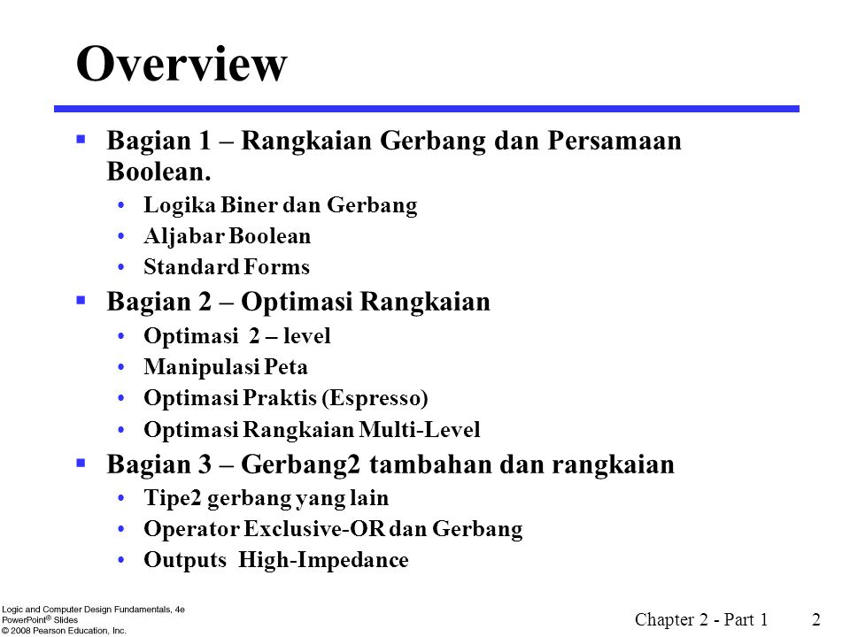 Chapter 2 - Part 2 53  Biaya Solusi ini : 2 + 2 + 3 + 3 + 4 = 14  Mencari solusi optimum dan dibandingkan :  There are two optimum solutions one of which is the one obtained by Espresso.