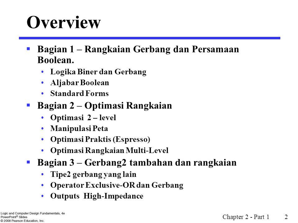 Chapter 2 - Part 1 2 Overview  Bagian 1 – Rangkaian Gerbang dan Persamaan Boolean. Logika Biner dan Gerbang Aljabar Boolean Standard Forms  Bagian 2